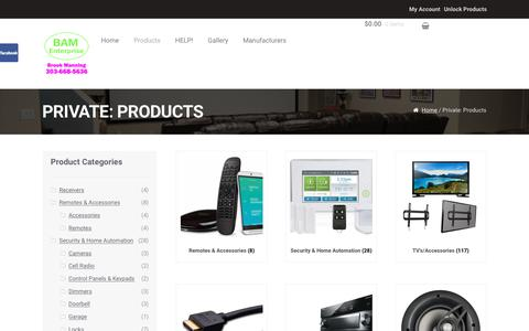 Screenshot of Products Page bam-enterprise.com - Products – BAM Enterprise - captured Sept. 22, 2017