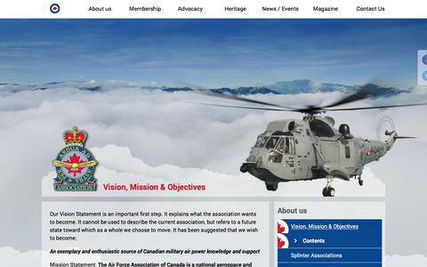 Screenshot of About Page rcafassociation.ca - Vision, Mission & Objectives - Royal Canadian Air Force Association - captured Feb. 5, 2016