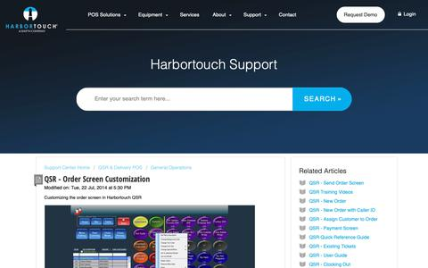 Screenshot of Support Page harbortouch.com - QSR - Order Screen Customization : Harbortouch Support Center - captured Oct. 9, 2018