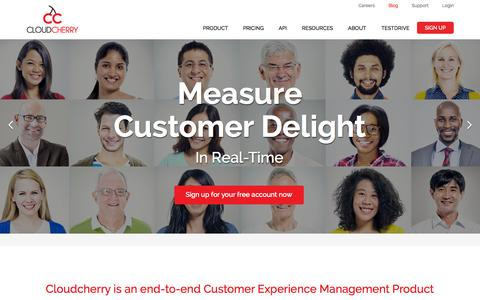 Screenshot of Home Page getcloudcherry.com - CloudCherry - Customer Experience Management and Feedback Software - captured Sept. 19, 2015