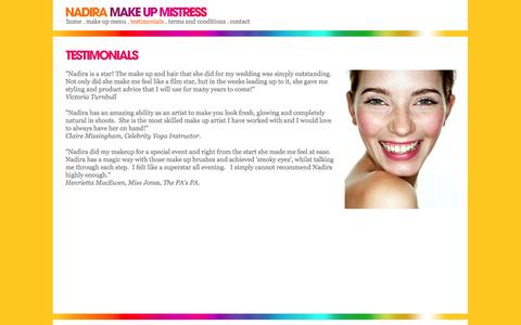 Screenshot of Testimonials Page nadiramakeupmistress.com - NADIRA MAKE UP MISTRESS - captured Oct. 27, 2014