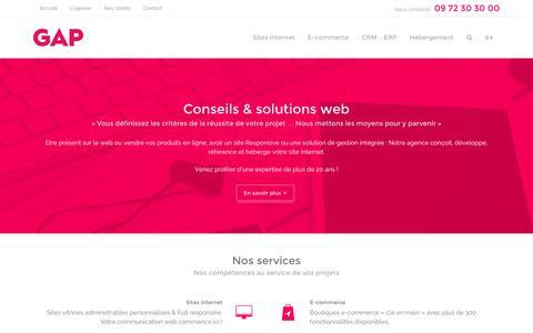 Screenshot of Home Page agence-gap.fr - Agence GAP - Cr�ation de site Internet professionnel - captured Dec. 24, 2015