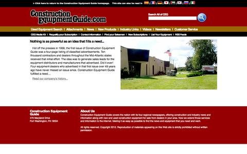 Screenshot of Support Page constructionequipmentguide.com - Customer Service | Construction Equipment Guide - captured Sept. 19, 2014