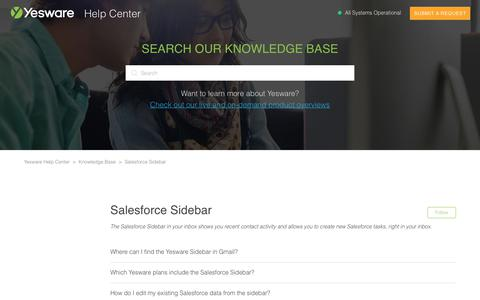 Screenshot of Support Page yesware.com - Salesforce Sidebar – Yesware Help Center - captured July 12, 2019