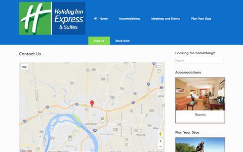 Screenshot of Contact Page hievanburen.com - Contact Us – Holiday Inn Express & Suites - captured Aug. 20, 2017