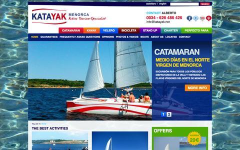 Screenshot of Home Page katayak.net - Catamaran & Kayak Charter Menorca | Boat & sailing yacht rental - captured Oct. 6, 2014