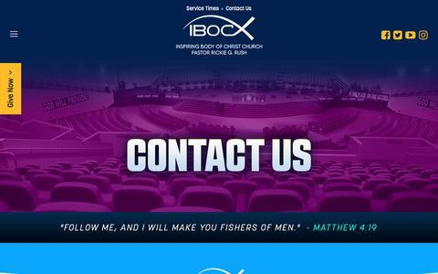 Screenshot of Contact Page ibocchurch.org - Contact - captured Oct. 1, 2018