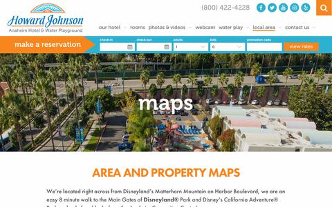 Screenshot of Maps & Directions Page hojoanaheim.com - Anaheim Area Map | Howard Johnson Hotel & Water Playground - captured Sept. 30, 2018