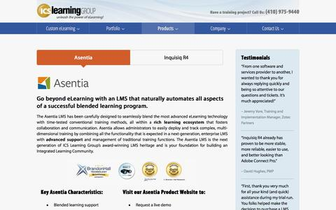 Screenshot of Products Page icslearninggroup.com - Learning Management Systems | ICS Learning Group - captured July 25, 2018