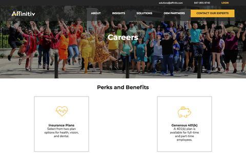 Screenshot of Jobs Page affinitiv.com - Careers – Affinitiv - captured Sept. 19, 2019