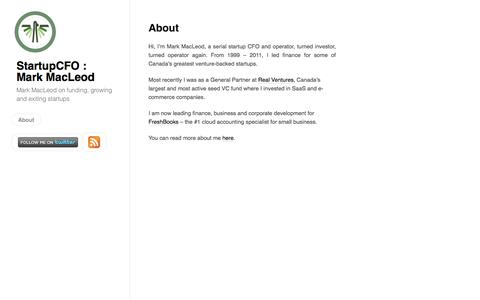 Screenshot of About Page startupcfo.ca - About by StartupCFO : Mark MacLeodStartupCFO : Mark MacLeod - captured Sept. 23, 2014