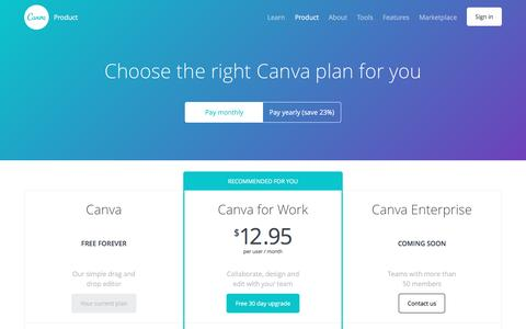 Screenshot of Pricing Page canva.com - Pricing - About Canva - captured April 20, 2017