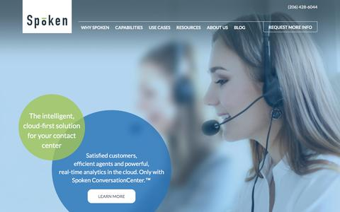 Screenshot of Home Page spoken.com - Cloud-first contact center [CCaaS] | Spoken Communications - captured May 5, 2017