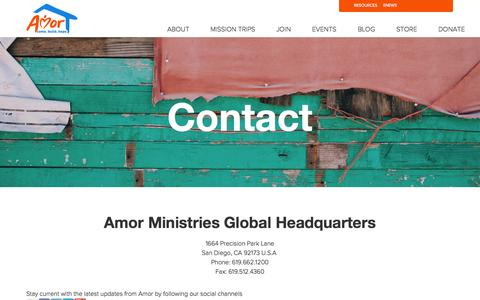 Screenshot of Contact Page amor.org - contact - captured Oct. 4, 2014