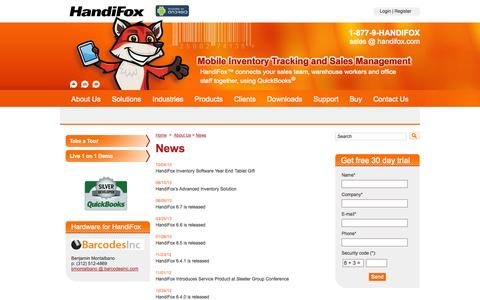 Screenshot of Press Page handifox.com - Our News - Inventory Scanner - Warehouse Inventory Software - captured Sept. 30, 2014