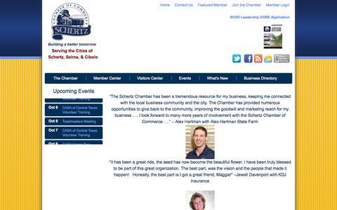 Screenshot of Testimonials Page schertzchamber.org - Schertz Chamber of Commerce - Testimonials - captured Oct. 4, 2014