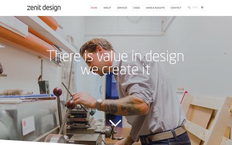 Screenshot of Home Page zenitdesign.se - Zenit Design | Design Agency | Vision into Value - captured Sept. 21, 2018