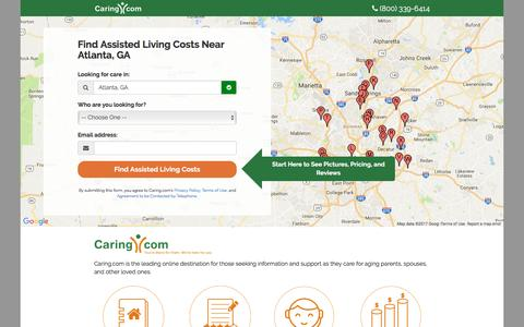 Screenshot of Landing Page caring.com - Find Top Assisted Living Facilities in Your Area | Caring.com - captured Feb. 15, 2017