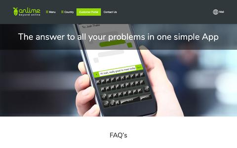 Screenshot of FAQ Page onlime.com - The answer to all your problems in one simple App - Beyond Onlime - captured Oct. 24, 2018
