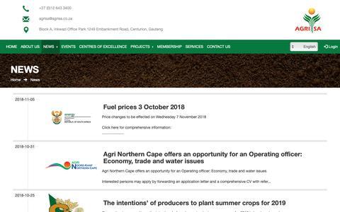 Screenshot of Press Page agrisa.co.za - AgriSA - News - captured Nov. 6, 2018