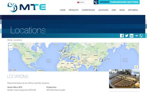 Screenshot of Locations Page mte-bv.com - Locations - MTE BV mass transfer productsMTE BV mass transfer products - captured Dec. 20, 2015