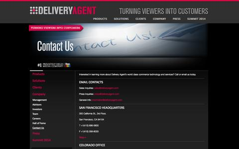 Screenshot of Contact Page deliveryagent.com - Contact Us | Delivery Agent, Inc. - captured Sept. 15, 2014