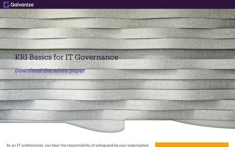 Screenshot of Landing Page wegalvanize.com - KRI Basics for IT Governance - captured Nov. 29, 2019