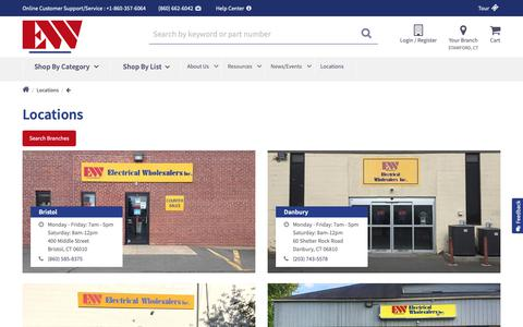 Screenshot of Locations Page ew-ct.com - Locations | Electric Wholesaler CT - captured Oct. 18, 2018