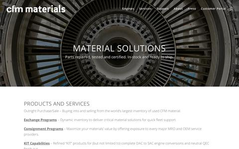Screenshot of Services Page cfmmaterials.com - Services - CFM Materials - captured July 14, 2018