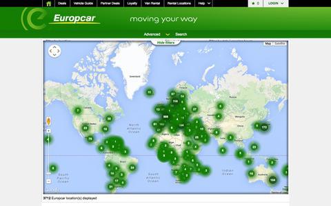 Screenshot of Locations Page europcar.com - Station finder - captured Sept. 18, 2014