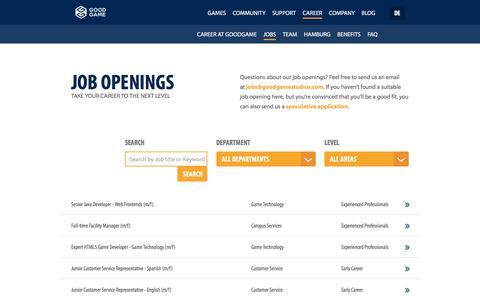 Screenshot of Jobs Page goodgamestudios.com - Job openings - Goodgame Studios - captured March 19, 2016