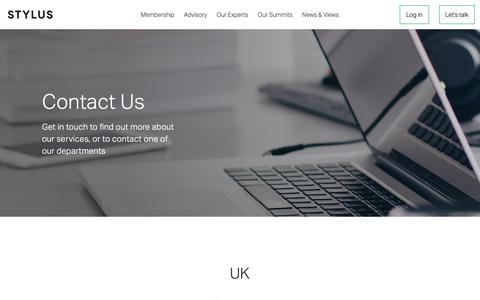 Screenshot of Contact Page stylus.com - Contact us | Stylus | Stylus | Innovation Research & Advisory - captured Oct. 29, 2018