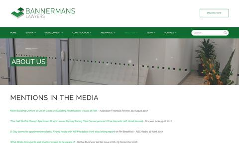 Screenshot of Press Page bannermans.com.au - Bannermans Lawyers  - Media - captured Oct. 5, 2018