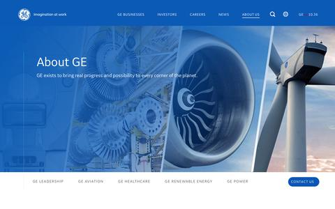 Screenshot of About Page ge.com - About GE - General Electric Company | GE.com - captured Aug. 1, 2019