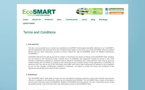 Screenshot of Terms Page ecosmart.com - Terms and Conditions «  Safe Pesticides for Home | EcoSMART Organic Insecticide Bug Spray - captured July 19, 2014
