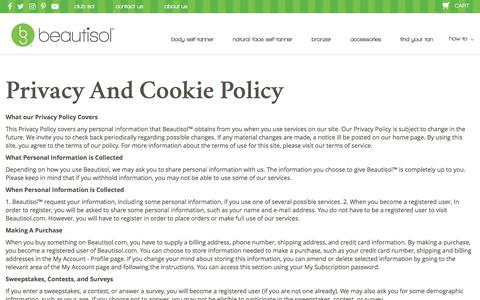 Screenshot of Privacy Page beautisol.com - Privacy and Cookie Policy - captured Aug. 1, 2018