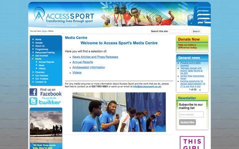 Screenshot of Press Page accesssport.org.uk - Media Centre | Access Sport - captured Dec. 23, 2015