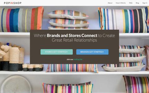 Screenshot of Home Page popinshop.me - PopInShop - captured Dec. 10, 2015