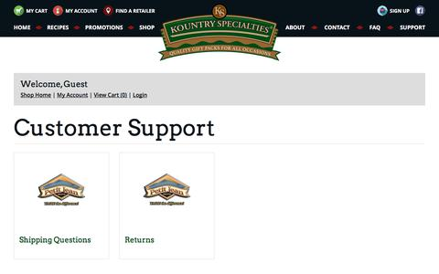 Screenshot of Support Page kountryspecialties.com - Support | Kountry Specialties | High Quality Meats - captured Sept. 20, 2018