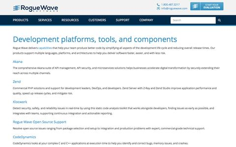 Screenshot of Products Page roguewave.com - Development platforms, tools, and components   Rogue Wave Software - captured March 11, 2018