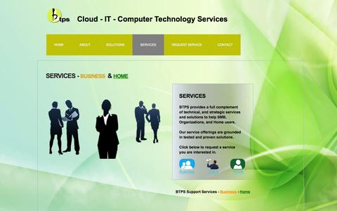 Screenshot of Services Page btpsonline.com - Services - Business Technology and Payment Solutions - captured Feb. 8, 2016
