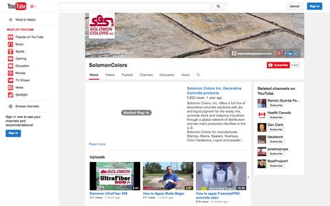 Screenshot of YouTube Page youtube.com - SolomonColors  - YouTube - captured Oct. 29, 2014