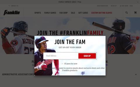 Screenshot of Jobs Page franklinsports.com - Careers at franklin   Franklin Sports - captured Aug. 22, 2018