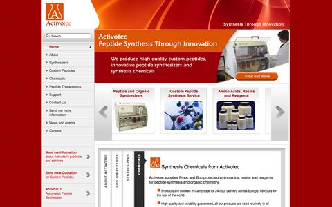 Screenshot of Home Page activotec.com - Peptide Synthesis, Peptide Synthesizers and Custom Synthesis from Activotec - captured Feb. 5, 2016