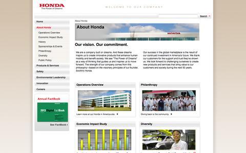 Screenshot of About Page honda.com - Honda – The Power of Dreams – Official Honda Web site - captured Sept. 18, 2014
