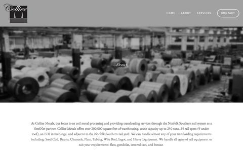 Screenshot of About Page colliermetals.com - About — Collier Metals - captured Jan. 29, 2016