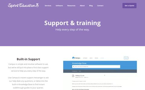 Screenshot of Support Page sprint-education.co.uk - Campus Edu-Marketing Software Support | Sprint Education - captured Dec. 21, 2016