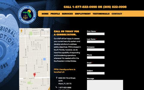 Screenshot of Contact Page ppia.org - Contact   Professional Protection Investigations Agency - captured Oct. 3, 2014