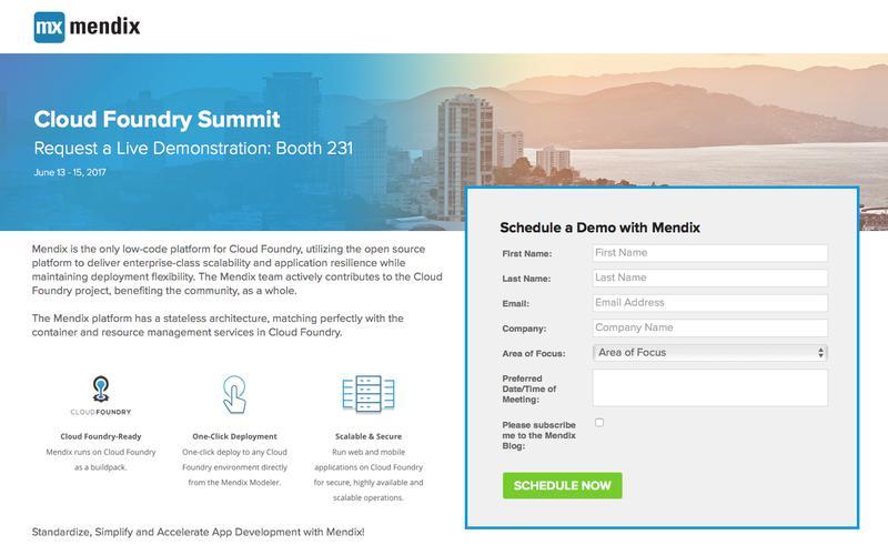 Visit Mendix at Cloud Foundry Summit