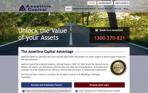 Screenshot of Home Page assetline.com.au - Short Term Loans   Secured Loans Australia   Assetline Capital - captured Sept. 24, 2014